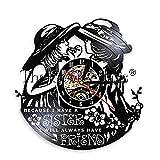 FDGFDG Glam Girls LED Night Light Girl Friends Wall Clock Dress Up Make Up Lipstick Big Hats Vinyl Record Clock