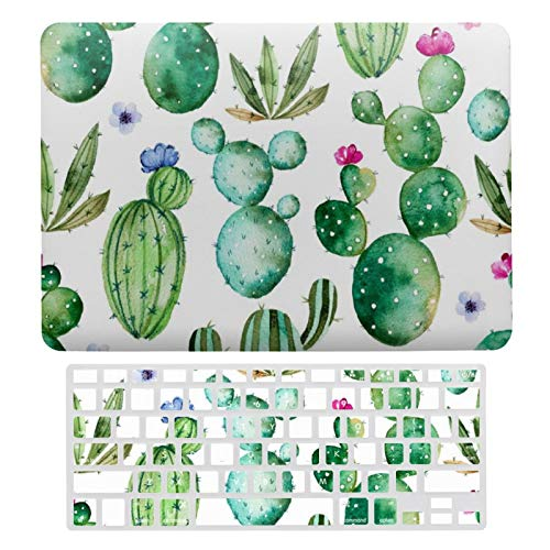 For MacBook Air 13 13 Inch Case A1466、A1369 Hard Shell Cover for MacBook Air 13 Case & Keyboard Cover, Cute Watercolor Flowering Cactus Patterned Laptop Protective Shell Set