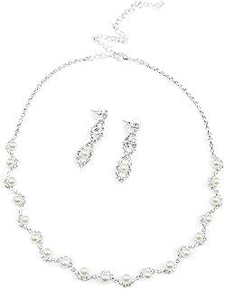 LUOEM Hochzeit Party Strass Perlen Halskette Ohrringe Schmuckset