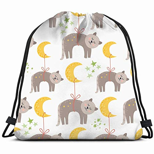 JIMSTRES sleeping cats animals wildlife animal Drawstring Backpack Gym Sack Lightweight Bag Water Resistant Gym Backpack for Women&Men for Sports,Travelling,Hiking,Camping,Shopping Yoga