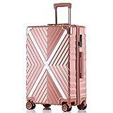 ボンイージ(bonyage) スーツケース ファスナー式 超軽量 TSAロック付 8輪 多段階調節 機内持込 旅行出張 1年保証 ローズゴールド rose gold XLサイズ 約68L