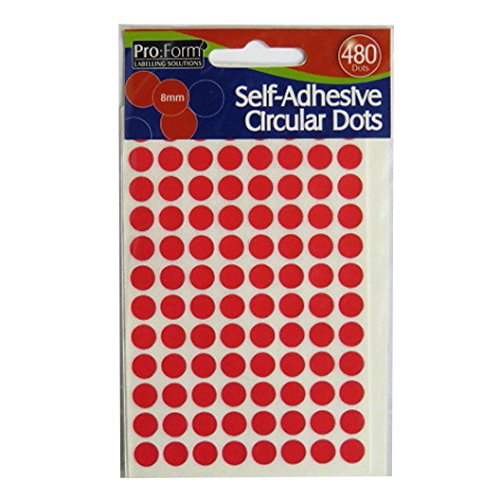 Red Pack of 480 Size 8mm Circular Self Adhesive Dots