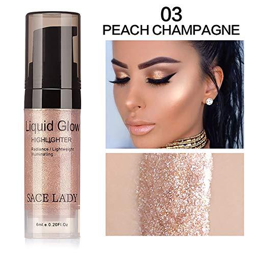 Beito 1 Stück Makeup Flüssigkeit Highlighter Augen Gesicht Glitzer Brighten Konzentrierte Beleuchter Bronze Drops Make Up Textmarker(03 Pfirsich Champagner)