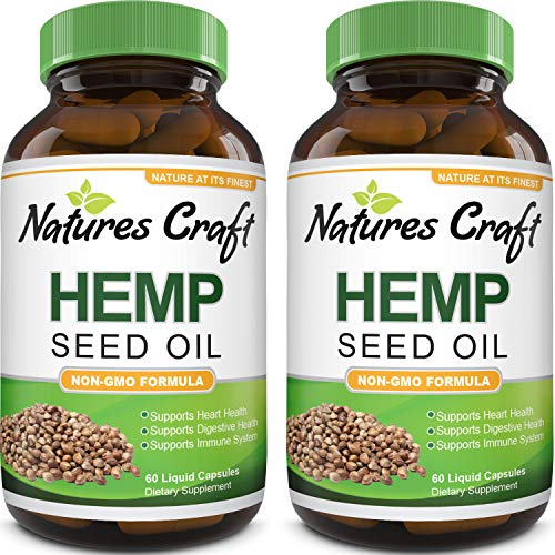 Hemp Oil Capsules 1000mg – Immune Support Pure Organic Hemp Oil for Pain Relief Sleep Aid Energy and Mood – Omega 3 6 9 Hemp Seed Oil for Hair Skin and Nails Vitamins and Joint Supplements for Men