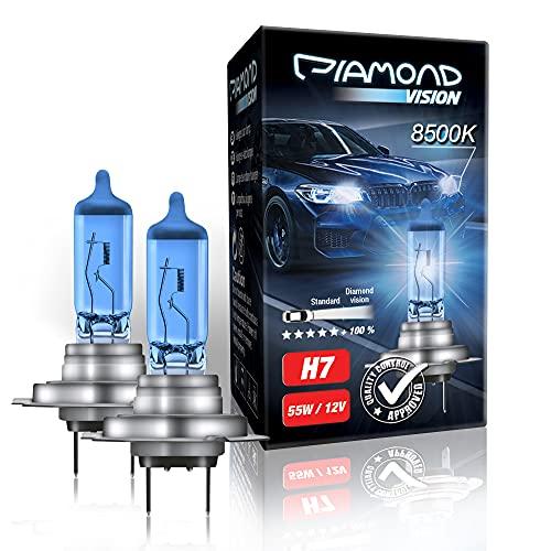 2x H7 12V 55W 8500K Diamond vision Ampoules Alogene Halogene Effet Xenon Effect Look Blue Bleu Blanc White Racicng Vision Anti Erreur Night Breaker Laser Moto