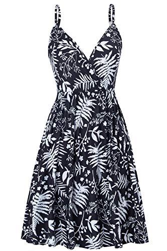 Damen Sommerkleid V Ausschnitt Ärmellos Knielang Kleid Strandkleid Blumenmuster Casual Partykleid Strand Swing Kleid für Mädchen XL
