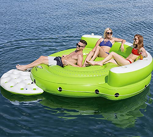 73HA73 Sea Island Swimming Pool Inflatable Boat Floating Row Rest Water Toys and Electric Water Pumps Ice Bucket Repair Stickers 6 People