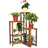 unho Plant Corner Stand 6 Tier Wood Shelf Indoor Outdoor Garden Patio Displaying Shelves Rack for Flowers Succulents Planter Pots