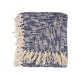 LR Home THROW81186BLU4250 Boho Chambray Throw Blanket, 50' x 60', Blue