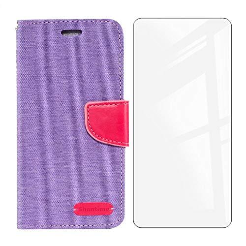 HHUAN Funda + Cristal Templado para OPPO Reno6 Pro+ 5G (6.55'), Vidrio Templado Protector de Pantalla et Flip PU Leather Carcasa Soporte Plegable Función de Cover Billetera Case - Purple