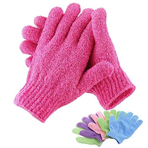 Laowang bain gants exfoliants Massage du corps de résistance à l'abrasion de rosée éponge la peau de lavage hydratant mousse SPA,Rouge