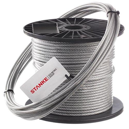Seilwerk STANKE 50m PVC Drahtseil 4mm 6x7 verzinkt PVC ummantelt - Stahlseil Wäscheleine Forstseil DIN Seil Draht Stahl kunststoffummantelt