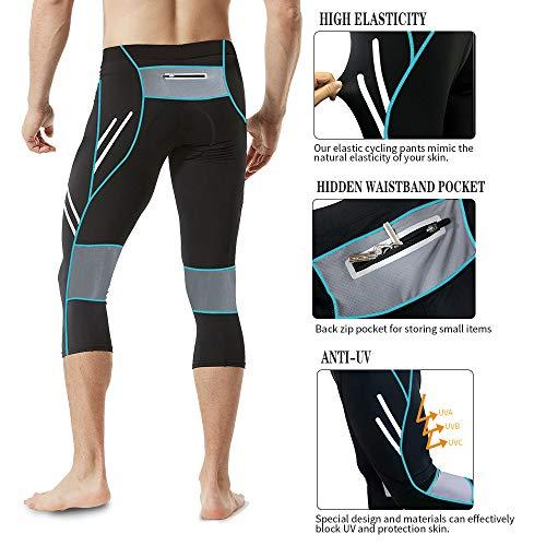MEETWEE Herren 3/4 Radhose Fahrradhose, Kompression Radlerhose Leggings Radsport Hose für Männer Elastische Atmungsaktive 3D Schwamm Sitzpolster - 2