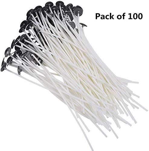 100PCS 8 Inch Candle Wick,100% Natural Low Smoke PreWaxed 100% Natural Cotton Core Candle Wick for Candle Making DIY