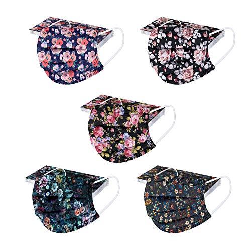 RUITOTP 50PCS Unisex Erwachsene Beschützer Schal - Mode Universal süße Blume Druck 3 Schicht elastische Earloop weichen Schal für Frauen Männer-21130-2