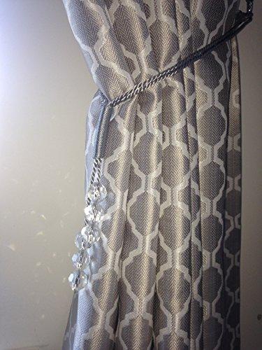 Alan Symonds Paillettes Strass Embrace Embrasse Rideau Paire Argent 70cm Rideau Tenez
