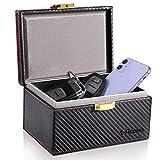 TICONN Faraday Box, Car Key Fob Protector, Carbon Fiber Signal Blocker for Keyless Fob, RFID Signal Blocking Pouch Cage