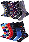 Marino Men's Dress Socks - Colorful Funky Socks for Men - Cotton Fashion Patterned Socks - 12 Pack (Trendy Collection,10-13)