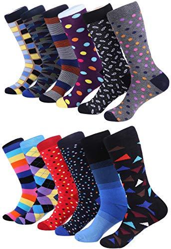 Marino Men's Dress Socks - Colorful Funky Socks for Men - Cotton Fashion Patterned Socks - 12 Pack - Trendy Collection - 13-15