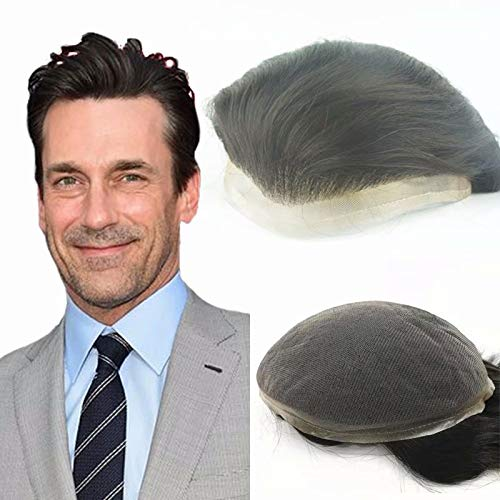 N.L.W. Mens toupee hair replacement soft human hair system hairpiece Swiss Full Lace base piece 10X8',One-fit-all large size 6 inch Jet Black Gents hairpieces