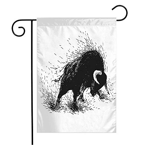 TBTUA Garden Flag Yard Decorations Hand Drawing Action Dangerous Charge Raging Male Bull Animals Wildlife West Herd Sketch Mad Nature Outdoor Small Polyester Flag Double Sided 12' x 18'