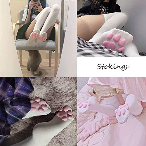 GLIDLEEO Cat Paw Pad Sock, Cute Pink Thigh High Socks for Girls kids Women 3D Kitten Claw Stockings Lolita Cat Cosplay(White)