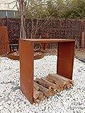 Zen Man 031998 - Scaffale per legna da ardere, in metallo, 1,2 mm, 17 kg, 35 x 125 x 125 cm