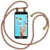 moex Handykette kompatibel mit Nokia 2.1 Hülle mit Band Längenverstellbar, Handyhülle zum Umhängen, Silikon Hülle Transparent mit Kordel Schnur abnehmbar in Rainbow