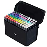 81 Colores Marker Pen Set Dibujo Rotulador Animación Boceto Marcadores Set con Estuche de Transporte para Dibujar Colorear Resaltar y Subrayar (81 Pcs)