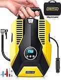 GERCHWAY Portable Car Air Compressor w/Auto Shut Off Feature/Long Cord, Digital Tire Inflator Pump, Storage Bag