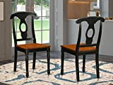 East West Furniture Napoleon-Styled dining chairs - Wooden Seat and Black Solid wood Frame dining chair set of 2