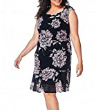Connected Apparel Women's Plus Size Floral Sleeveless Sheath Dress in Navy/Mauve (24W)