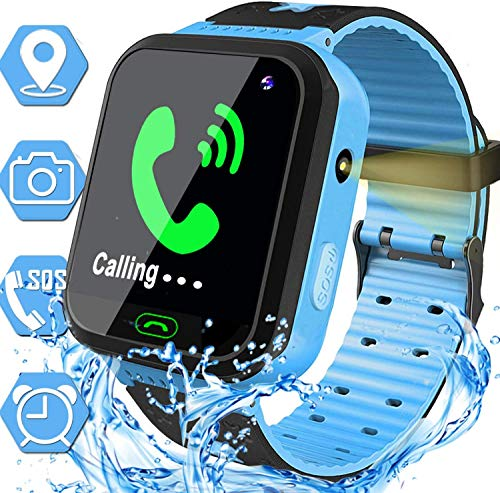 Waterproof Kids Smart Watch - GPS Tracker Smartwatch Phone for Boys Girls - Smart Watch with SOS Two-Way Call Games Touch Screen Digital Wrist Watch Holiday Toys Birthday Gifts (Blue)