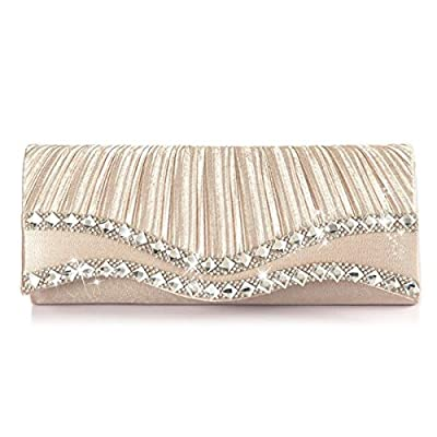 Emour Women Satin Pleated Rhinestone Clutch Wedding Bag Bridal Prom Evening HandBag