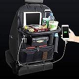 Organisateur de siège de voiture en cuir PU Tapis de sol avec support pour tablette/poches de rangement multiples 4x ports USB with_tray