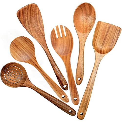 Wooden Spoons for Cooking, 6 Pcs Wooden kitchen Utensil Set for Cooking Spoons Spatula with Holes Organic Teak Wood Kitchen Tools