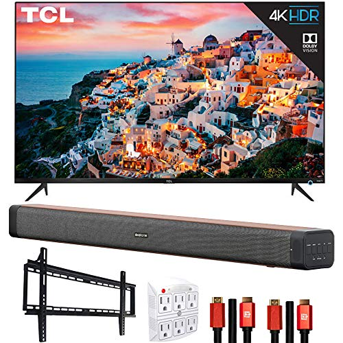 TCL 75S535 75-inch 5-Series 4K UHD Dolby Vision HDR Roku Smart TV Bundle with Deco Home 60W Soundbar with Dual Subwoofers, Wall Mount, 2X Deco Gear HDMI Cable, 6-Outlet Surge Adapter with Night Light