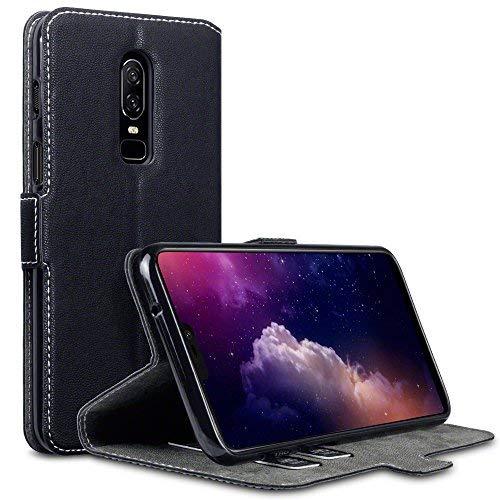TERRAPIN, Kompatibel mit OnePlus 6 Hülle, Leder Tasche Hülle Hülle im Bookstyle mit Standfunktion Kartenfächer - Schwarz