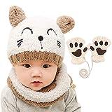 Wintermütze, Schal und Handschuhe für Babys und Kinder, 3-teiliges Set für Jungen und Mädchen, warme Strickmütze mit Halstuch, Kreisschal, Halstuch-Set für 1–4 Jahre Jungen und Mädchen