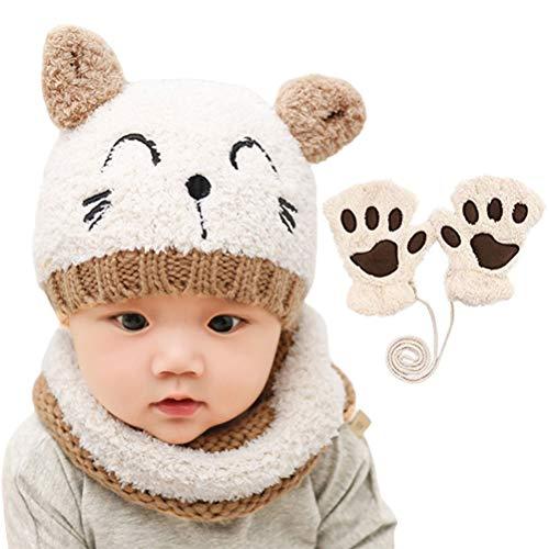 shenruifa 2021 - Bonnet d'hiver tendance - Bonnet écharpe et gants pour bébé - Bonnet chaud en tricot avec écharpe circulaire au crochet