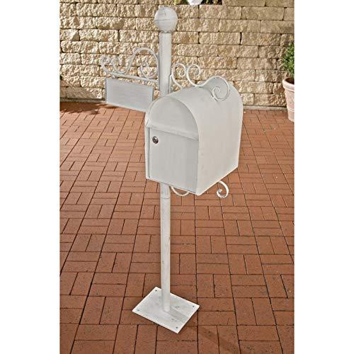 CLP Stand-Briefkasten Charlize I Antiker freistehender Briefkasten mit Namensschild I Briefkasten aus Eisen I erhältlich, Farbe:antik weiß