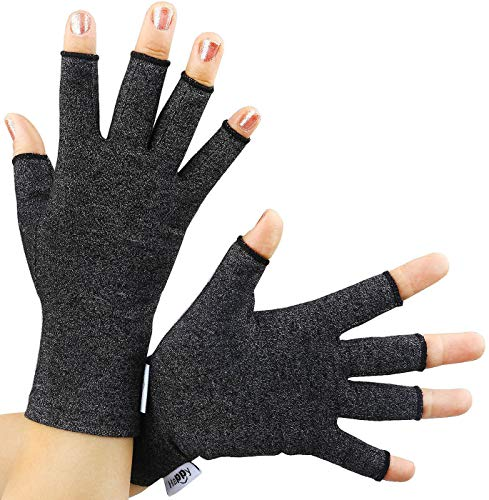 2 Pairs Arthritis Gloves, Compression Gloves for Rheumatoid & Osteoarthritis,Joint Pain Relief, Carpal Tunnel Wrist Support,Computer Typing,Fingerless Gloves for Women (Black, Small)