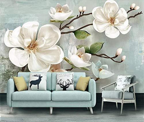 XZCWWH 3D Walpaer Photo Wallpaper Custom Size Mural Living Room Embossed Magnolia Flower 3D Picture Sofa Tv Backdrop Sticker Wallpaper,250Cm(W)×175Cm(H)