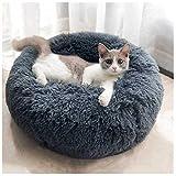 ABenxxou Panier pour Chat Chien, Coussin Rond Chat lit Chaud Moelleux de Chien Chat Donut Lavable pour Chiot (L: 60x60cm (Pet Below 10kg), Gris foncé)