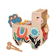 Manhattan Toy Musical Llama Wooden Instrument for Toddlers with Maraca, Clacking Saddlebags, Drumsti...