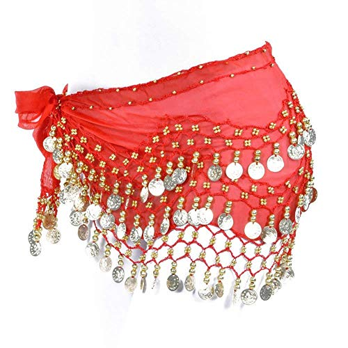 REINDEAR Vogue Style Chiffon Dangling Gold Coins Belly Dance Hip Scarf US Seller (Red)