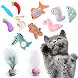 MOMOK 12Pcs Catnip Toys for Indoor Cats, Soft Interactive Cat Toys, Kitten Chew Toys with Natural Catnip Filled, Including Interactive Starry Sky cat Feather Ball Toys for Boredom Relief