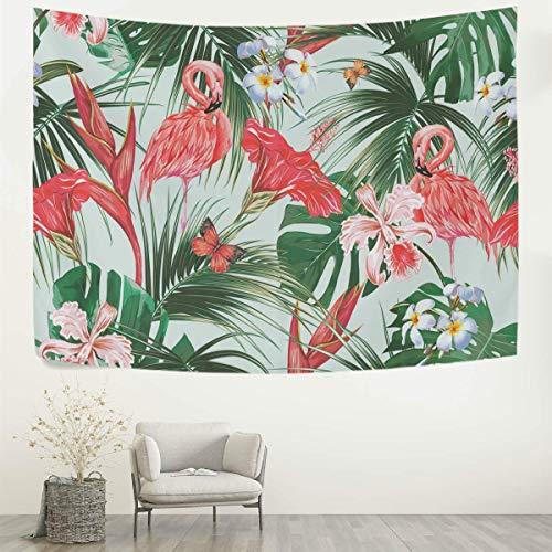 Tapiz Flores tropicales Hojas de palma Tapices de flamencos rosados Tapiz Tapices decorativos de pared Arte de pared Manta de pared Ropa de cama Tapiz para dormitorio Sala de estar Dormitorio Decora