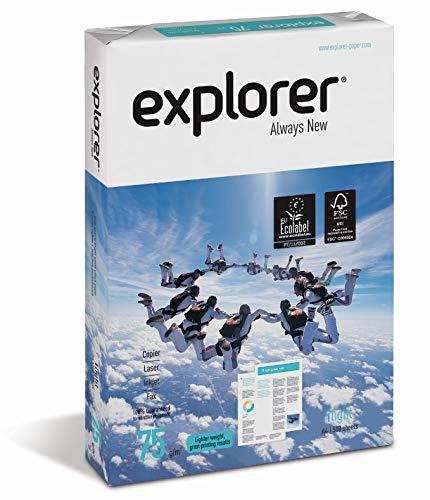 EXPLORER – Papel blanco multiusos para impresora – A4 75gr – 1 paquete – 500 folios