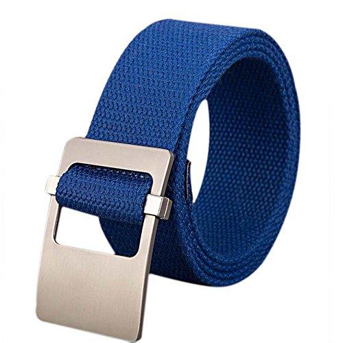 Doitsa cinturón de Hebilla Lisa en Lienzo Exterior Simple para Hombre y Mujer Mujer cinturón Trenzado cinturón en Lienzo décontractée para jóvenes/Etudiants Size 110* 3.8cm (Azul)